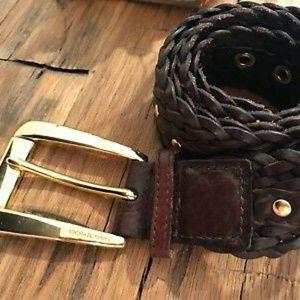 MICHAEL KORS Large Woven Leather Gold Buckle Belt